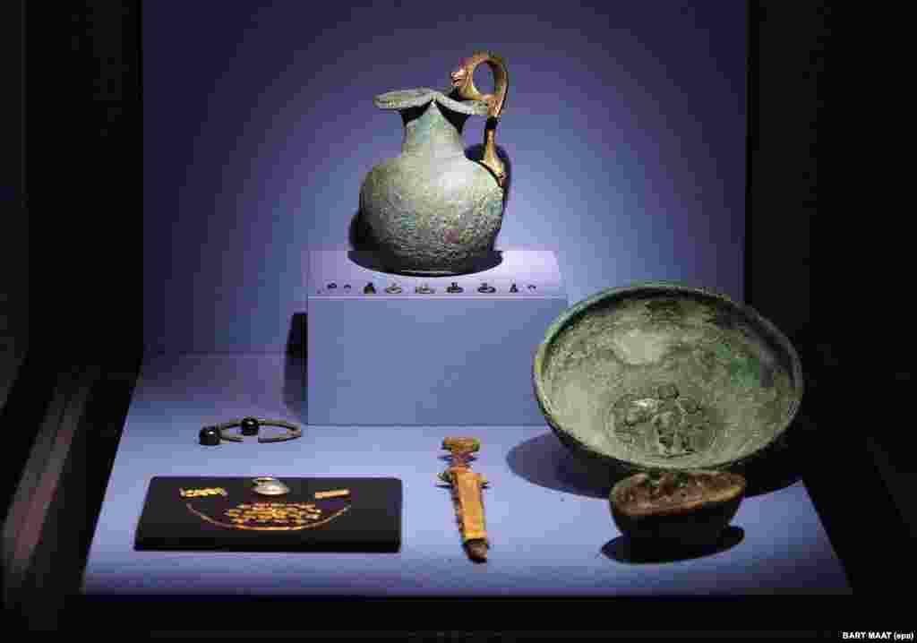 A picture dated August 21, 2014 shows objects on display at the Allard Pierson Museum in Amsterdam.