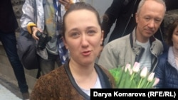 Darya Kulakova is greeted by supporters on May 9.