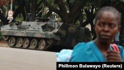 Воени возила на улиците на Хараре