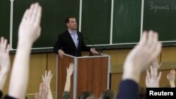 Дмитрий Медведев на встрече со студентами факультета журналистики МГУ