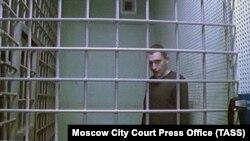 Активист Константин Котов, участвующий в заседании по видеосвязи в апреле 2020 года. В декабре 2020 он вышел на свободу