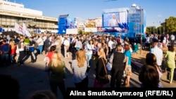 Ресейдің биліктегі «Единая Россия» партиясын қолдау жиыны. Симферополь, Қырым, 16 қыркүйек 2016 жыл.