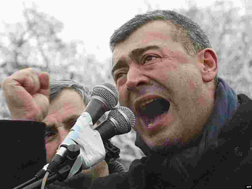 Levan Gachechiladze -- currently running behind Saakashvili in the election -- addresses supporters during a demonstration in Tbilisi on January 6.
