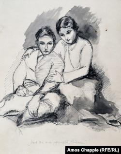 """Vázlat, rajta felirat """"Megijedtél, kicsi?"""". Gertrud Kauderst ábrázolhatja testvérével, Corneliusszal"""