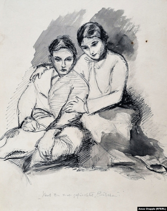 "A sketch captioned with the phrase ""Were you frightened, little one?"" may depict Gertrud Kauders with Cornelius (1916-2002), the father of Miriam Kauders."
