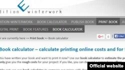 """""""Winterwork"""" çap evinin kitab qiymətlərini hesablamaq üçün kalkulyatoru"""