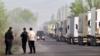 Очередь из грузовых фур на кыргызско-казахской границе, апрель 2019 г.