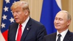 U.S. President Donald Trump (left) and Russian President Vladimir Putin in Helsinki on July 16