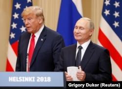 Владимир Путин и Дональд Трамп на совместной пресс-конференции после переговоров. Хельсинки, июль 2018 года