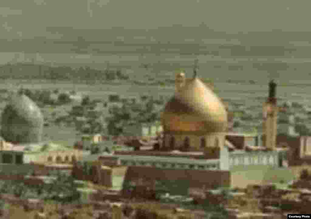 Samarra's Al-Askari (Golden) Mosque before the February 22, 2006, bombing (courtesy photo) - The Iraqi city of Samarra is the site of two major Shi'ite shrines. Consecrated in 852, the Golden Mosque is said to hold the remains of two Shi'ite imams: Ali al-Naqi and his son, Hasan al-Askari.