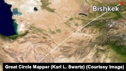 Бишкек – Доха түз аба каттамынын учуу картасы (иллюстрация).