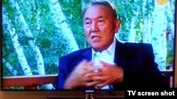 Kazakh President Nursultan Nazarbaev speaks to Khabar television.