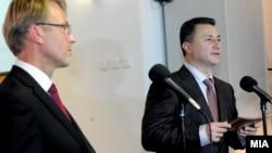 Евроамбасадорот Аиво Орав и премиерот Никола Груевски.