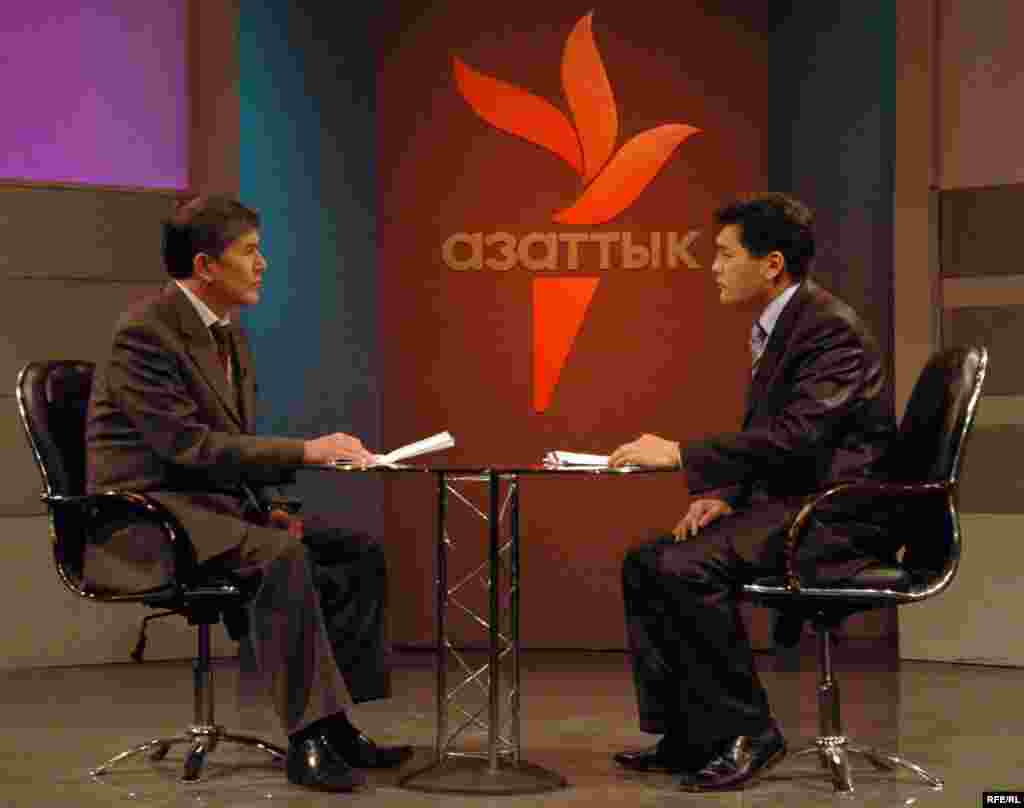 Kyrgyzstan -- Radio Azattyk TV program w/ Atambaev and host Otorbaev; CPP (Country Page Photo) for new website for Kyrgyz Service - Kyrgyzstan -- Radio Azattyk TV program w/ Atambaev and host Otorbaev; CPP (Country Page Photo) for new website for Kyrgyz Service