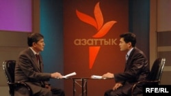 Kyrgyzstan -- Radio Azattyk TV program w/ Atambaev and host Otorbaev; CPP (Country Page Photo) for new website for Kyrgyz Service