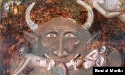 Деталь зображення Страшного суду. Джакопо да Болонья, 1350 рік