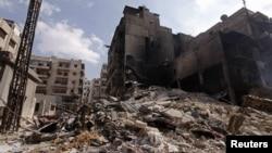 Սիրիա -- Այրված շինություն Հալեպի Ալ-Քաթարջի շրջանում, 9-ը հոկտեմբերի, 2012թ․