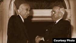 Iranian Prime Minister Mohammad Mosaddegh (left) is welcomed by U.S. President Harry Truman in 1951.