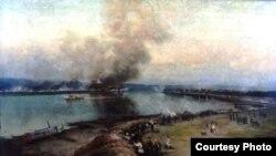 """Картина художника А. Сахарова """"Оборона Благовещенска в 1900 году"""""""