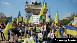 Учасники маніфестації у Мілані, 13 липня 2014 року (фото Лесі Татарин)