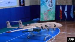 An Iranian drone during an unveiling ceremony in Tehran on September 23, some 2 1/2 years after Iran announced it had captured a U.S. RQ-170 Sentinel reconnaissance drone.