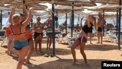 Russian tourists at the Red Sea resort of Sharm el-Sheikh (file photo)