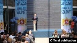 საქართველოს პრემიერ-მინისტრი ირაკლი ღარიბაშვილი ანაკლიის ღრმაწყლოვანი პორტის პროექტის პრეზენტაციაზე.