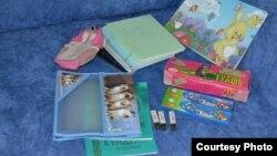Школьные принадлежности, в приобретении которых малоимущим семьям помогли жители Караганды в 2012 году.