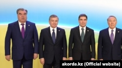 Слева направо:Эмомали Рахмон, Шавкат Мирзиеев, Гурбангулы Бердымухамедов и Нурсултан Назарбаев. Архивное фото