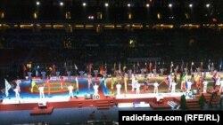 نمایی از افتتاحیه رقابتهای جهانی کشتی بوداپست