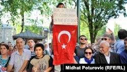 Transparent tokom posjete predsjednika Turske Redžepa Tajipa Erdogana BiH, Sarajevo, 20, maj 2015.