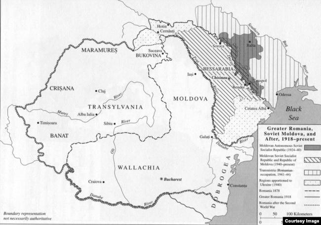 """Тёмное пятно в междуречье Днестра и Южного Буга – территория Молдавской АССР в 1924–1940 годах. Карта из книги Чарльза Кинга """"Молдаване"""""""