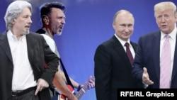 Владимир Сорокин, Сергей Шнуров, Владимир Путин и Дональд Трамп, коллаж