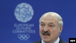 Belarusian President Alyaksandr Lukashenka addressed the European Olympic Committee general assembly in Minsk on October 21.
