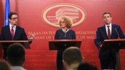 Заедничка прес-конференција на Радмила Шекеринска, Никола Димитров и Стево Пендаровски