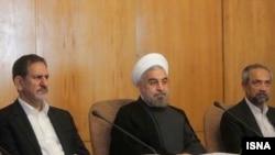 محمد نهاوندیان، رئیس دفتر ریاست جمهوری، حسن روحانی، رئیس جمهور و اسحاق جهانگیری، معاون اول رئیس جمهور