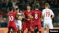 Pamje nga ndeshja Serbi - Shqipëri