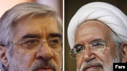 Iranian opposition leaders Mir Hossein Musavi (left) and Mehdi Karrubi