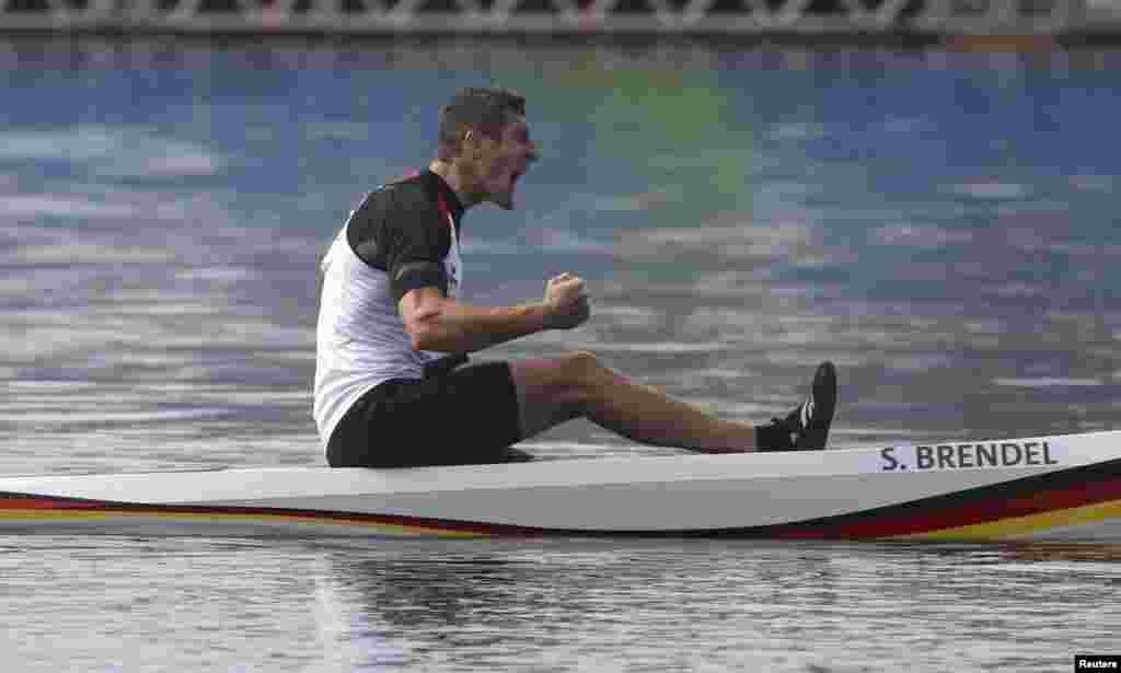 Sebastian Brendel of Germany takes gold in the men's canoe single (C1) 1,000 meters.