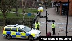 Locul unde de Serghei Skripal și fiica acestuia Liudmila au fost atacați un cu un gaz neurotoxic, Salisbury, Marea Britanie, 9 martie 2018.