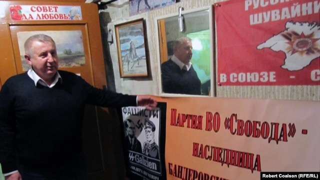 Crimean parliament deputy and pro-Russian separatist Sergei Shuvainikov in his office in Simferopol.