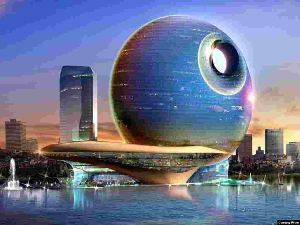 Azerbaijan - Architect's illustration of a proposed business/entertainment center in downtown Baku. 18Mar2008