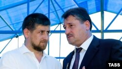 Then-Chechen President Alu Alkhanov (right) with Ramzan Kadyrov in 2006