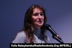 Дослідниця Ірина Рева на зустрічі учасників бойових дій із молоддю до Дня пам'яті жертв Голодоморів. 22 листопада 2018 року