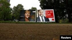 Angela Merkel i Martin Schulz na plakatima, Frankfurt