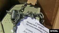 The Movement For Free Internet in Kazakhstan protested by sending a chained-up keyboard to the speaker of parliament.