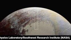 Вид Плутона с аппарата New Horizons (композитное фото)