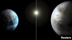 Yer və NASA-nın 2015-ci ildə aşkar etdiyi Kepler-452b planeti (sağda)
