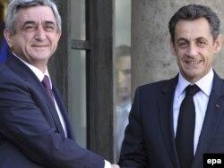 S.Sarkisyan və N.Sarkozi - Paris, 10 mart 2010