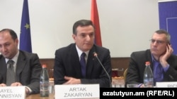 Armenia - Artak Zakarian (C), the chairman of the Armenian parliament's committee on foreign affairs, speaks at an event in Yerevan, 25Feb2015